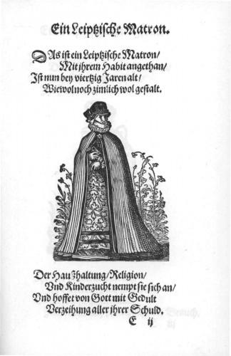 Ein Leisptzische Matrone, Jost Amman, Im Frauwenzimmer Wirt vermeldt von allerley schönen Kleidungen vnnd Trachten der Weiber, 1586 @WikiCommons